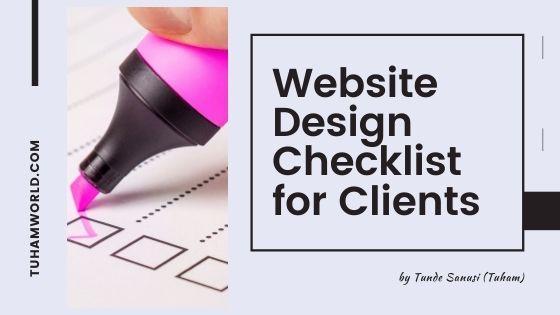 website design checklist for clients